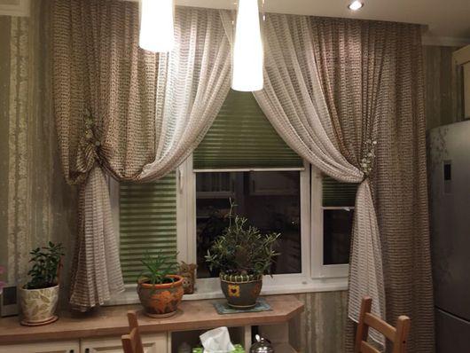 Текстиль, ковры ручной работы. Ярмарка Мастеров - ручная работа. Купить Шторы для кухни OLIVA. Handmade. Салатовый, шторы на заказ