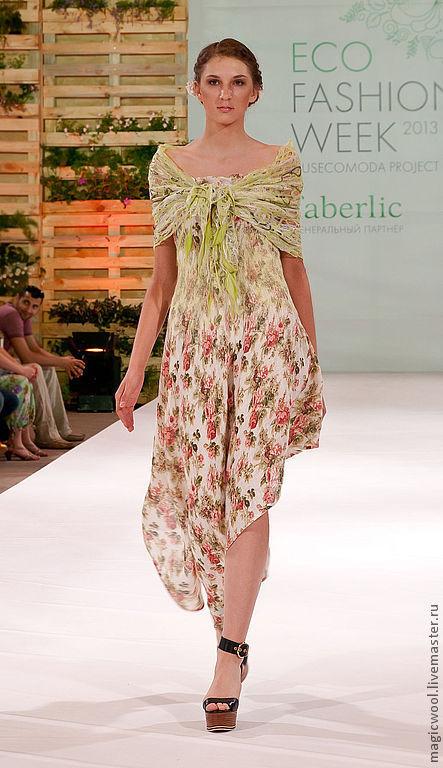 Платья ручной работы. Ярмарка Мастеров - ручная работа. Купить Льняное платье с оригинальной ажурной накидкой. Handmade. Красивое платье