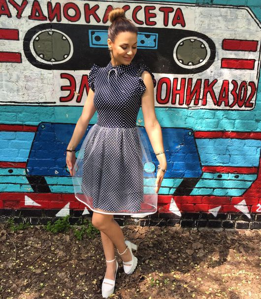Платья ручной работы. Ярмарка Мастеров - ручная работа. Купить Дизайнерское платье с двойной юбкой.. Handmade. Платье, платье с воротничком