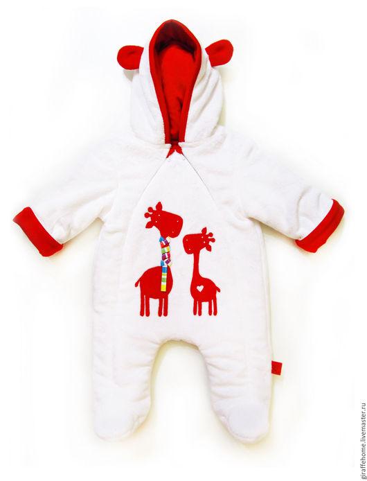 """Одежда ручной работы. Ярмарка Мастеров - ручная работа. Купить Комбинезон для малыша """"Жирафы"""". Handmade. Белый, комбинезон, комбинезон для малыша"""