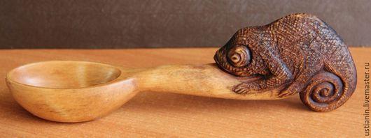 Ложки ручной работы. Ярмарка Мастеров - ручная работа. Купить Деревянная ложка с хамелеоном. Handmade. Коричневый, посуда ручной работы