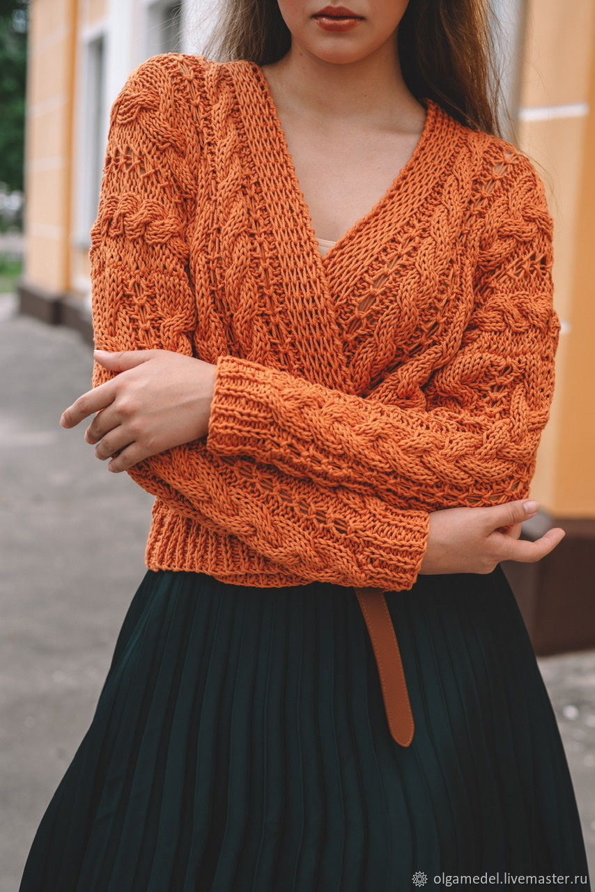 cardigans: Women's knitted cotton cardigan in Golden caramel, Cardigans, Yoshkar-Ola,  Фото №1