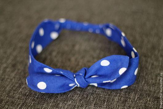 Повязки ручной работы. Ярмарка Мастеров - ручная работа. Купить Повязка на голову (солоха) ярко-синяя в горох. Handmade. Синий