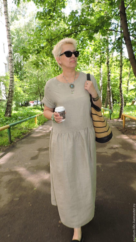 Льняное летнее платье Бохо натуральный, Платья, Москва,  Фото №1