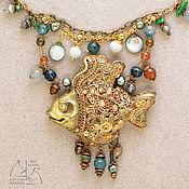Золотая рыбка. Авторский комплект украшений. Колье и серьги