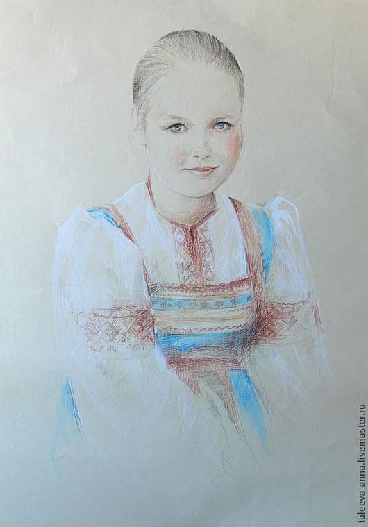 """Люди, ручной работы. Ярмарка Мастеров - ручная работа. Купить Портрет""""Анюта"""". Handmade. Русское, девочка, анюта, бумага"""
