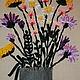 """Картины цветов ручной работы. картина """" Полевые цветы"""". Елена Бабель. Ярмарка Мастеров. Картина с цветами, Вышивка лентами"""