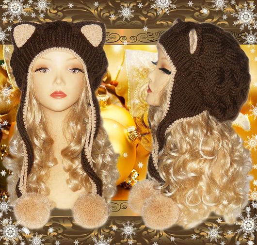 Шапки ручной работы. Ярмарка Мастеров - ручная работа. Купить Шапка кошка с ушками Кошка, белая, вязаная женская. Handmade.