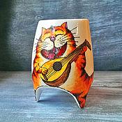 """Посуда ручной работы. Ярмарка Мастеров - ручная работа """"Серенада рыжего кота"""" - чашка с ножками. Handmade."""