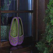 """Обувь ручной работы. Ярмарка Мастеров - ручная работа """"Сады Прованса""""  валяные тапочки-балетки. Handmade."""