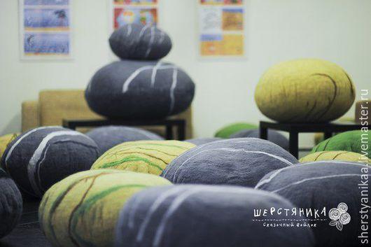 Текстиль, ковры ручной работы. Ярмарка Мастеров - ручная работа. Купить Подушка-камень-пуф из войлока  d-120см. Handmade.