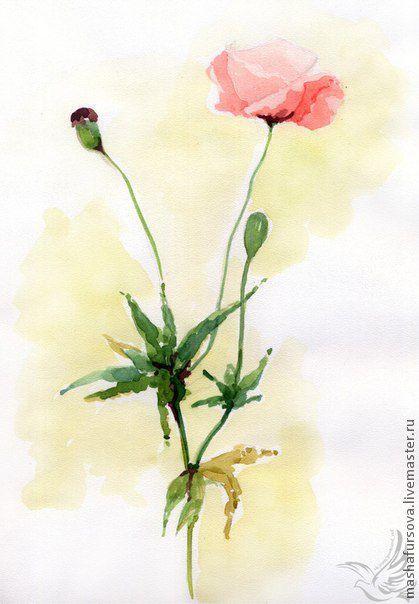 Картины цветов ручной работы. Ярмарка Мастеров - ручная работа. Купить Солнечные цветы (4 иллюстрации). Handmade. Цветы, акварель