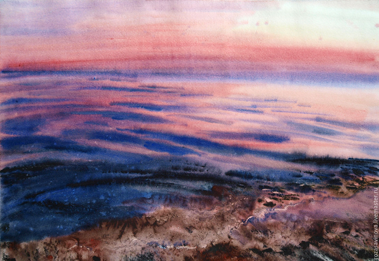 Painting watercolor sea in the Evening, Pictures, Magnitogorsk,  Фото №1