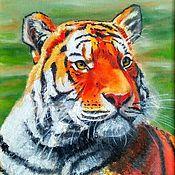 Картины и панно handmade. Livemaster - original item Oil painting Tiger in the style of photorealism on canvas. Handmade.
