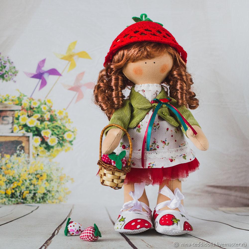 Кукла текстильная интерьерная Земляничка, Тыквоголовка, Новосибирск,  Фото №1