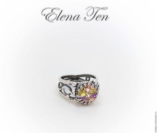 """Кольца ручной работы. Ярмарка Мастеров - ручная работа. Купить Серебряное кольцо с фианитом """"АРЛЕКИН"""", кольцо с камнем. Handmade."""