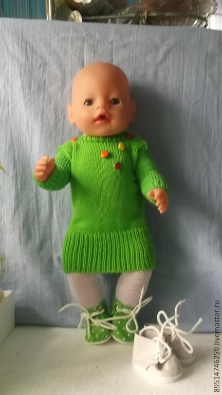 Одежда для кукол ручной работы. Ярмарка Мастеров - ручная работа. Купить Вязаное платье- свитер. Handmade. Салатовый, платье