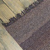 Для дома и интерьера ручной работы. Ярмарка Мастеров - ручная работа вязаный коврик коричневый с бахромой. Handmade.