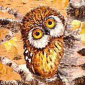 """Картины и панно ручной работы. Ярмарка Мастеров - ручная работа Картина на бересте """"Сова на березе"""". Handmade."""