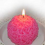 Сувениры и подарки ручной работы. Ярмарка Мастеров - ручная работа Ароматная свеча - Шар нежная роза. Handmade.