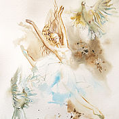 Картины и панно handmade. Livemaster - original item Fly ballet - painting with watercolors. Handmade.