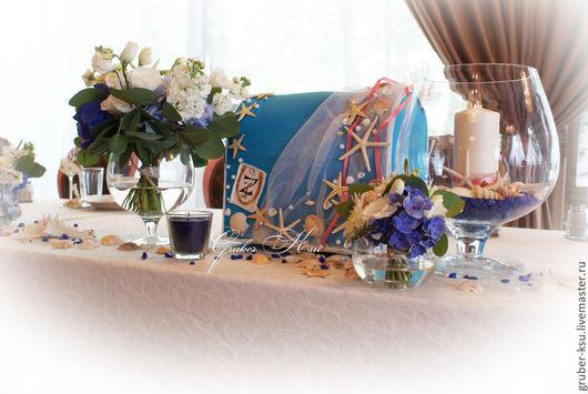 Свадебные аксессуары ручной работы. Ярмарка Мастеров - ручная работа. Купить Сундучок казна для денег в морском стиле. Handmade. Голубой