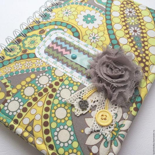 Блокноты ручной работы. Ярмарка Мастеров - ручная работа. Купить Блокнот для записей из ткани с рисунком огурцы. Handmade. Салатовый, блокнот