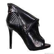 handmade. Livemaster - original item Stylish sandals with slips of leather of black color. Handmade.