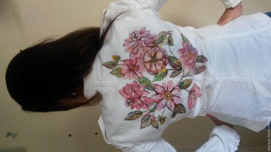 """Пиджаки, жакеты ручной работы. Ярмарка Мастеров - ручная работа. Купить Белый пиджак""""Яблони цветение"""". Handmade. Белый, нежный"""