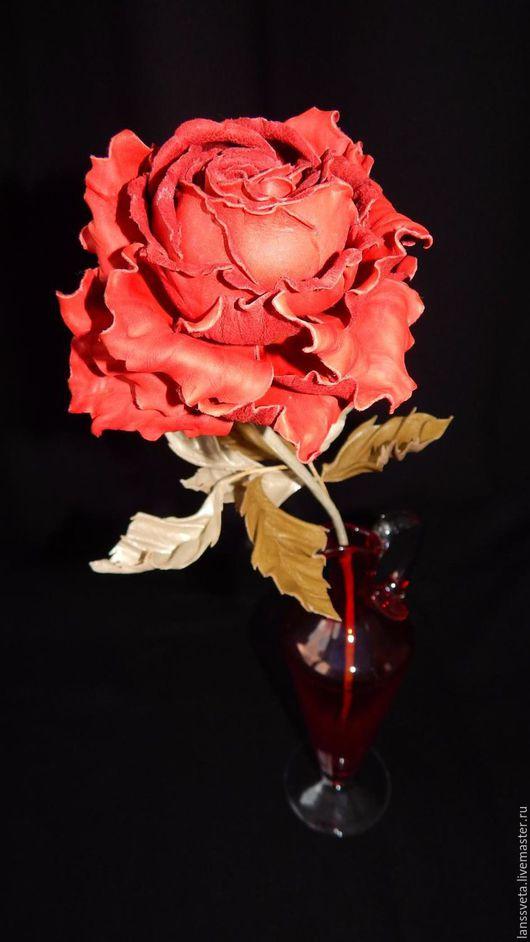 Букеты ручной работы. Ярмарка Мастеров - ручная работа. Купить Цветы из кожи. Интерьерная роза. Роза из кожи.. Handmade.