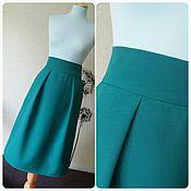 Одежда ручной работы. Ярмарка Мастеров - ручная работа Юбка миди, две складочки, костюмная ткань. Handmade.