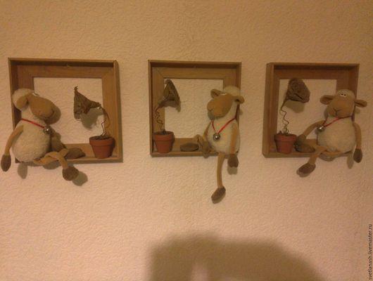 Животные ручной работы. Ярмарка Мастеров - ручная работа. Купить романтичные овечки. Handmade. Белый, панно, интерьерная картина