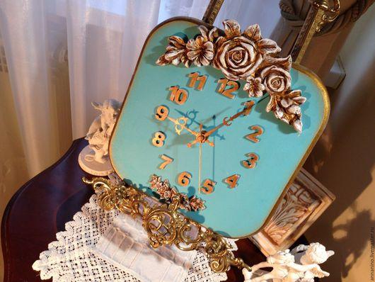 Часы для дома ручной работы. Ярмарка Мастеров - ручная работа. Купить Настенные часы Бирюзовое счастье Tiffany. Handmade. Бирюзовый