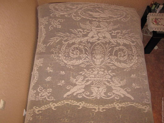Текстиль, ковры ручной работы. Ярмарка Мастеров - ручная работа. Купить Кружевное покрывало. Handmade. Бежевый, филейное вязание, подарок