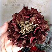 Украшения handmade. Livemaster - original item Copy of Copy of Copy of Copy of Flower from leather brooch peony. Handmade.