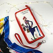 """Кошельки ручной работы. Ярмарка Мастеров - ручная работа Кошелек женский кожаный с рисунком""""За покупками""""с ремешком. Handmade."""
