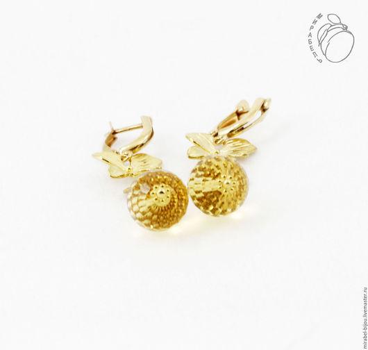 Мирабель-бижутерия. Эффектные яркие серьги из золотых цитринов, с желтыми бусинами, под золото, гламур, золотистые, фото. Купить серьги в Москве. Mirabelle. Handmade. Bright golden earrings citrine