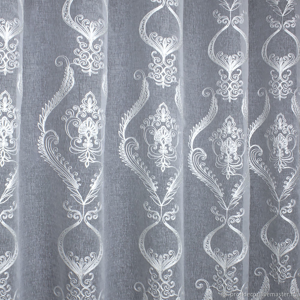 Tulle embroidery soutache, white 'Snow-white Fantasy', Curtains1, Moscow,  Фото №1
