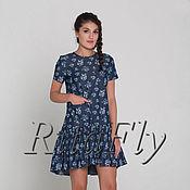 Одежда ручной работы. Ярмарка Мастеров - ручная работа 047:Платье летнее с воланом, платье из джинсы, свободное летнее платье. Handmade.