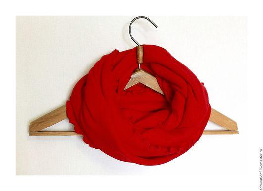 Шарфы и шарфики ручной работы. Ярмарка Мастеров - ручная работа. Купить Шарф снуд хомут труба Красный. Handmade.