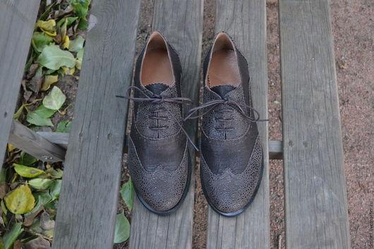 Обувь ручной работы. Ярмарка Мастеров - ручная работа. Купить Женский оксфорд коричневый комбинированный. Handmade. Коричневый, удобная обувь