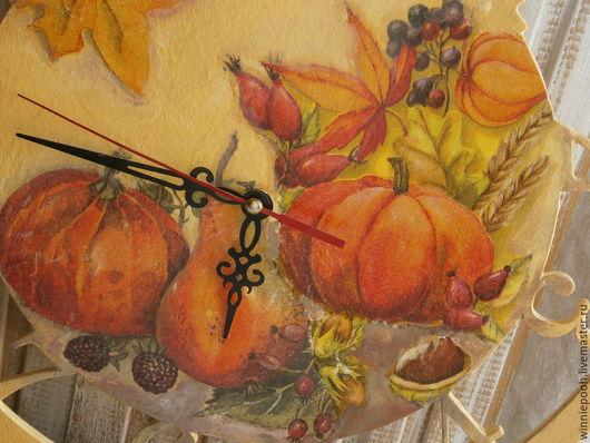 Часы для дома ручной работы. Ярмарка Мастеров - ручная работа. Купить Часы  Осенний натюрморт. Handmade. Желтый, арабские цифры