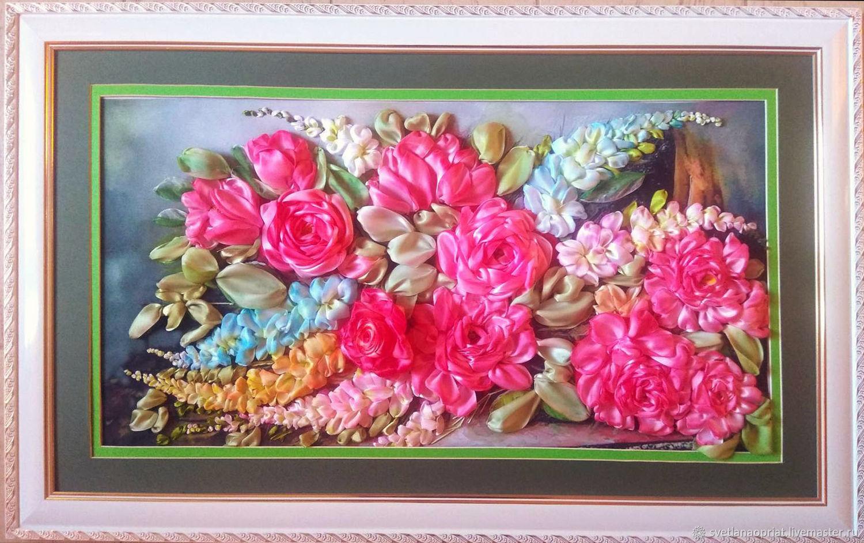Картина вышивка лентами Английские розы с глицинией, Картины, Сочи,  Фото №1