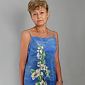 Одежда handmade. Livemaster - original item Dress with open shoulders - Blue - Women batik. Handmade.
