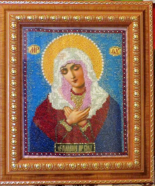 """Иконы ручной работы. Ярмарка Мастеров - ручная работа. Купить Икона из бисера """"Пресвятая Богородица в образе Умиления"""". Handmade."""