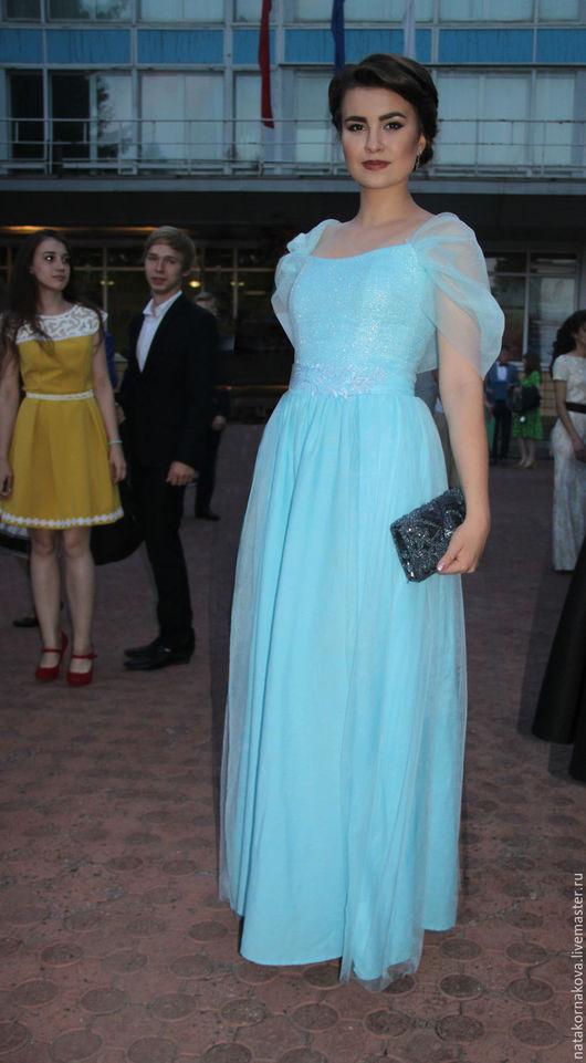 Платья ручной работы. Ярмарка Мастеров - ручная работа. Купить Платье выпускное длинное. Handmade. Голубой, эстрадное платье