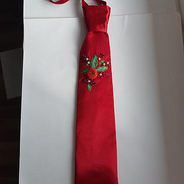 Аксессуары ручной работы. Ярмарка Мастеров - ручная работа Галстуки: красный галстук. Handmade.