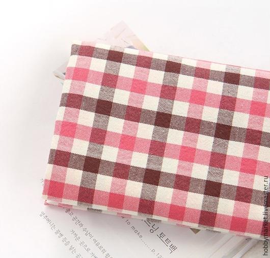 Шитье ручной работы. Ярмарка Мастеров - ручная работа. Купить Ткань хлопок Клетка коричнево-розовая 9 мм. Handmade.