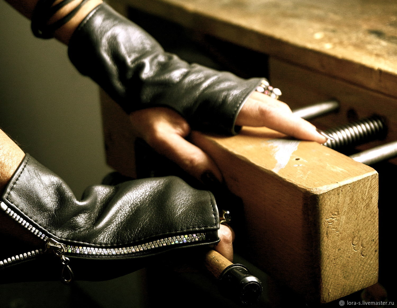 Stylish black leather fingerless gloves with zipper, unisex, Gloves, Dusseldorf,  Фото №1