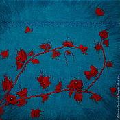 """Картины и панно ручной работы. Ярмарка Мастеров - ручная работа """"Алая ветка на голубом"""" панно. Handmade."""